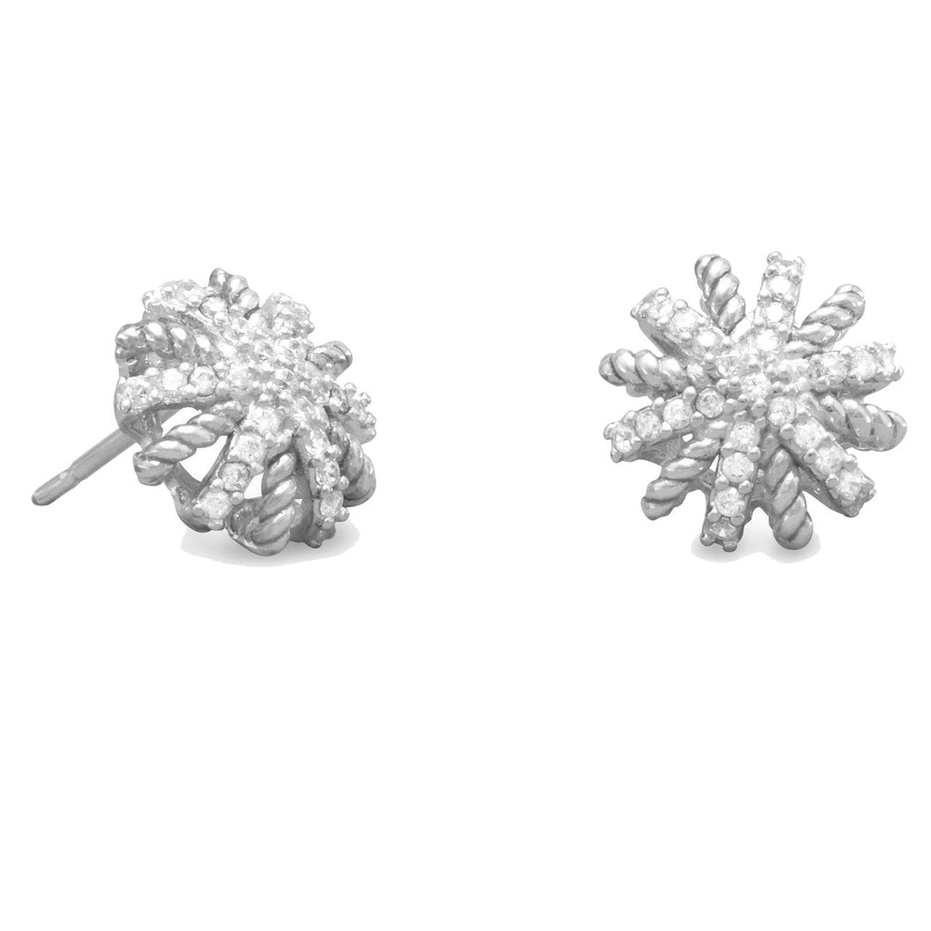 Starburst Stud Earrings with Rope Sterling Silver with Cubic Zirconia