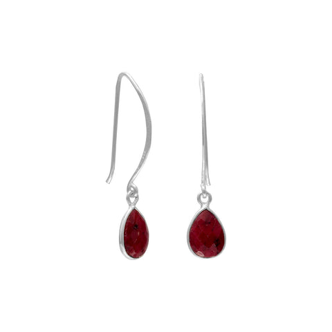 Dyed Red Corundum Teardrop Shape D-wire Earrings Sterling Silver
