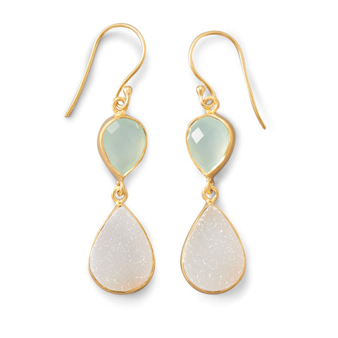 White Druzy and Green Chalcedony Earrings Gold-plated Sterling Silver