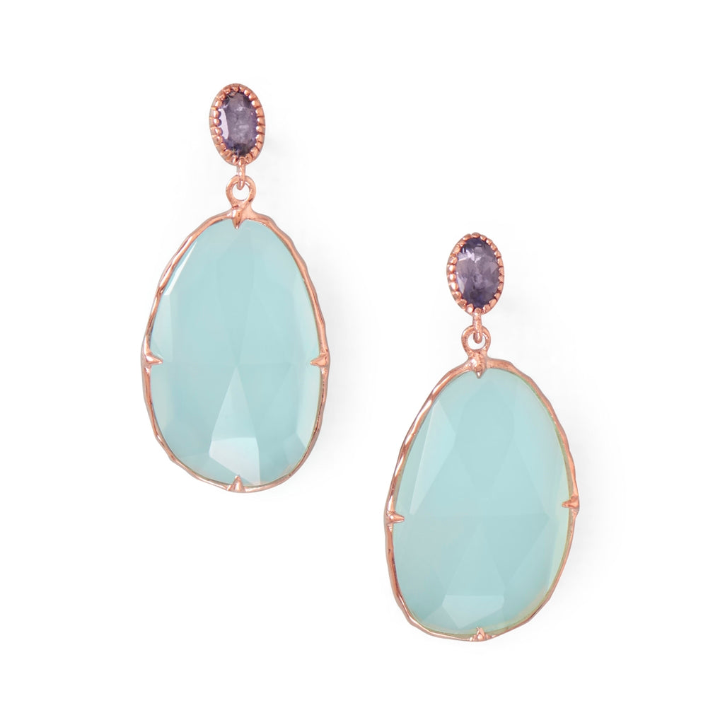 Blue Sea Chalcedony Earrings Rose Gold-plated Sterling Silver with Iolite Studs