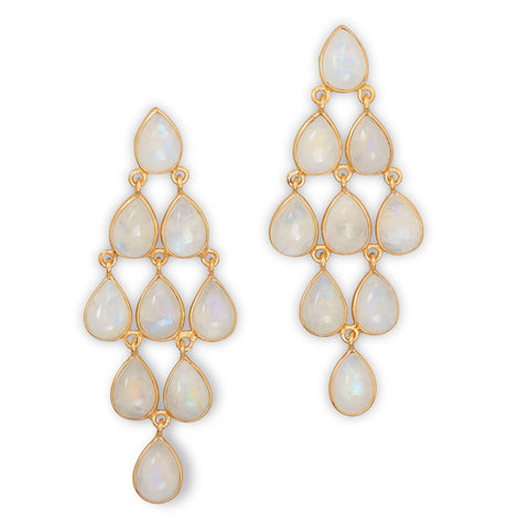 Rainbow Moonstone Chandelier Earrings Gold-plated Sterling Silver Teardrop