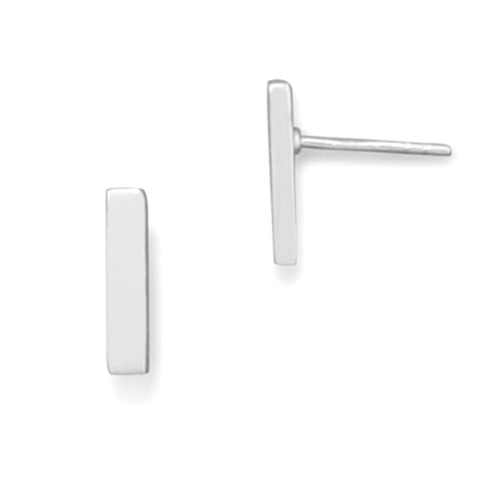 Rectangle Bar Post Stud Earrings Sterling Silver Geometric