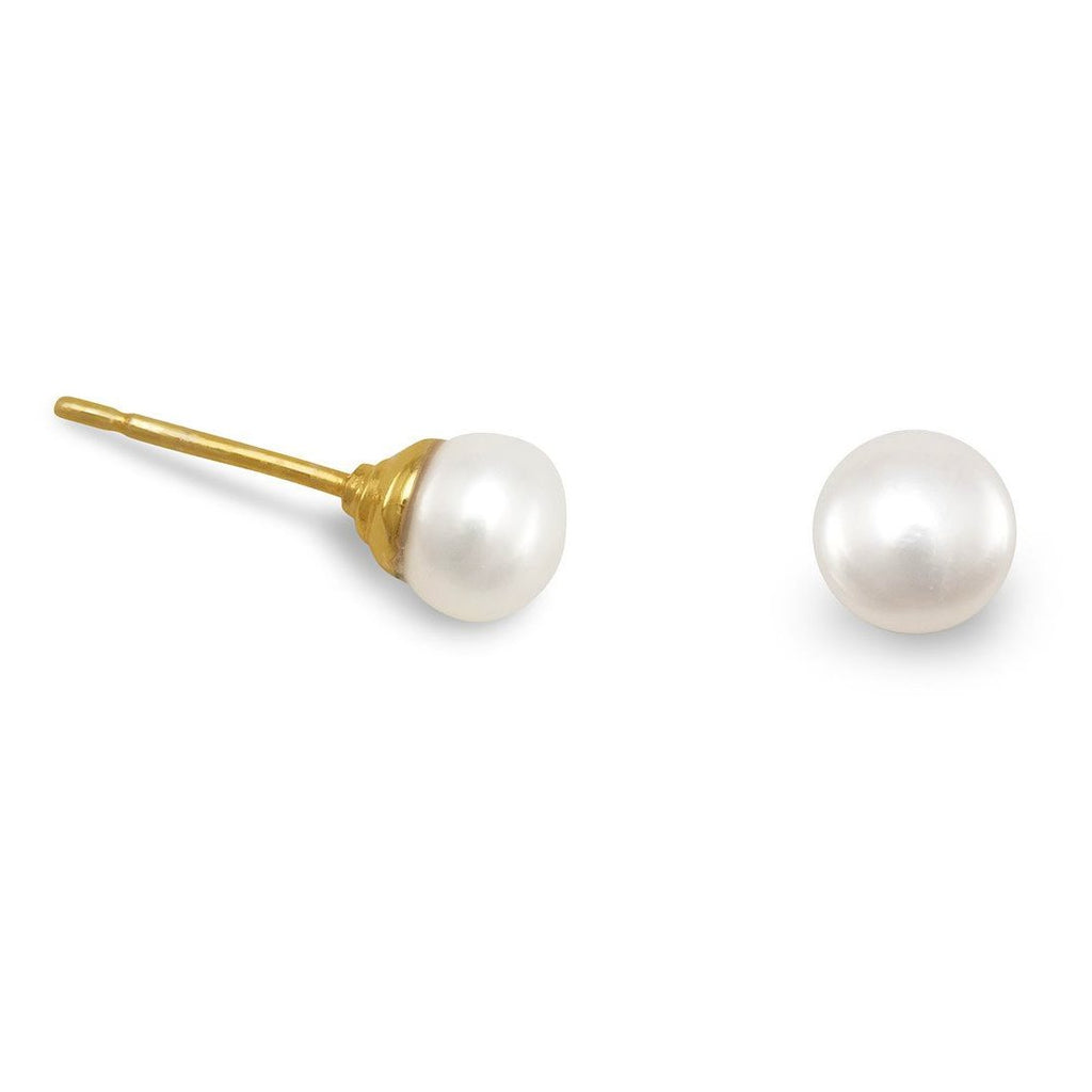 White Cultured Freshwater Pearl Stud Earrings Gold Plated Sterling Silver