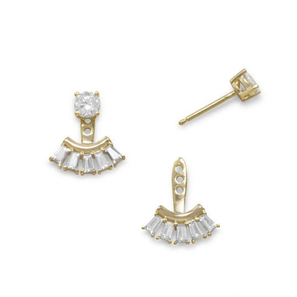 Cubic Zirconia Post Stud Earrings Gold-plated with Fan Drop