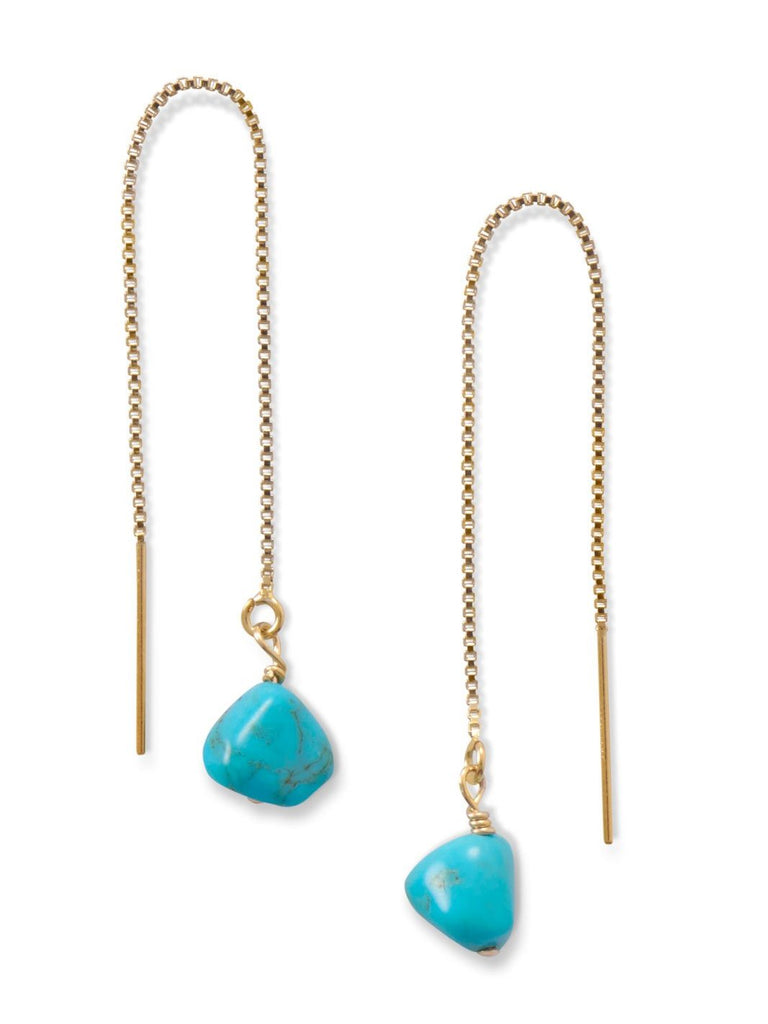 Threader Chain Earrings 14k Gold-filled with Reconstituted Turquoise Bead Ends
