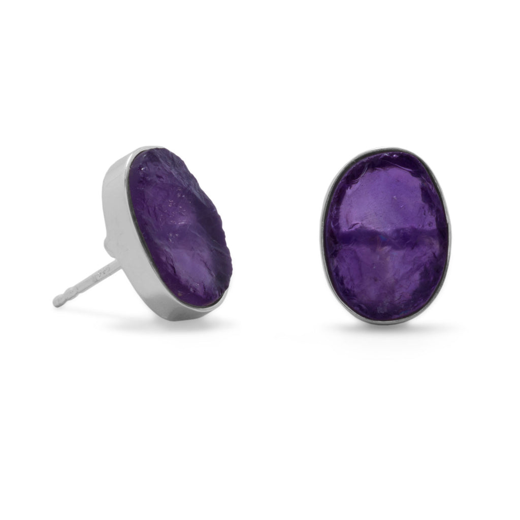 Amethyst Stud Earrings Rough Cut Sterling Silver
