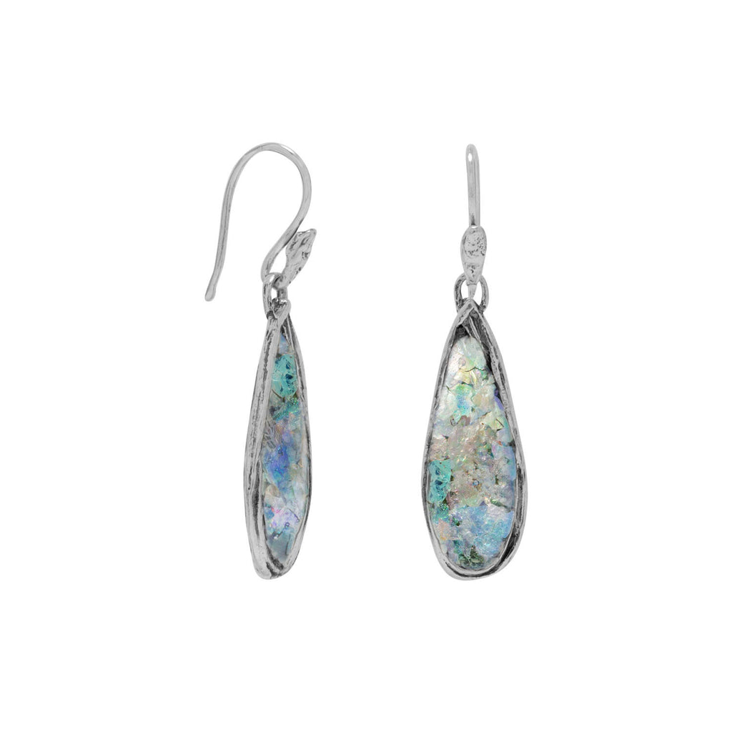 Ancient Roman Glass Earrings Teardrop Shape Sterling Silver