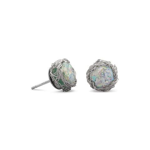 Ancient Roman Glass Round Stud Earrings with Birds Nest Wire Weave Edge