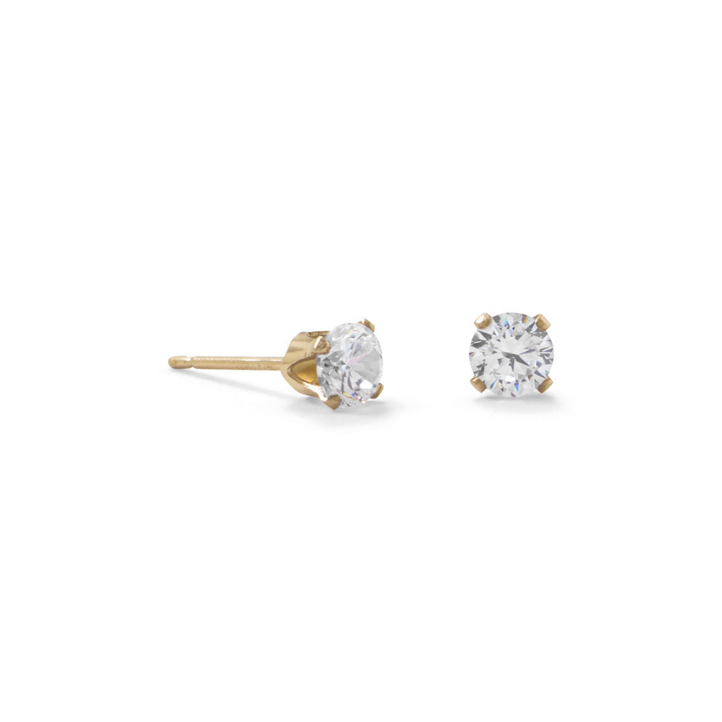 14k Gold-filled Clear Cubic Zirconia Post Stud Earrings 4mm