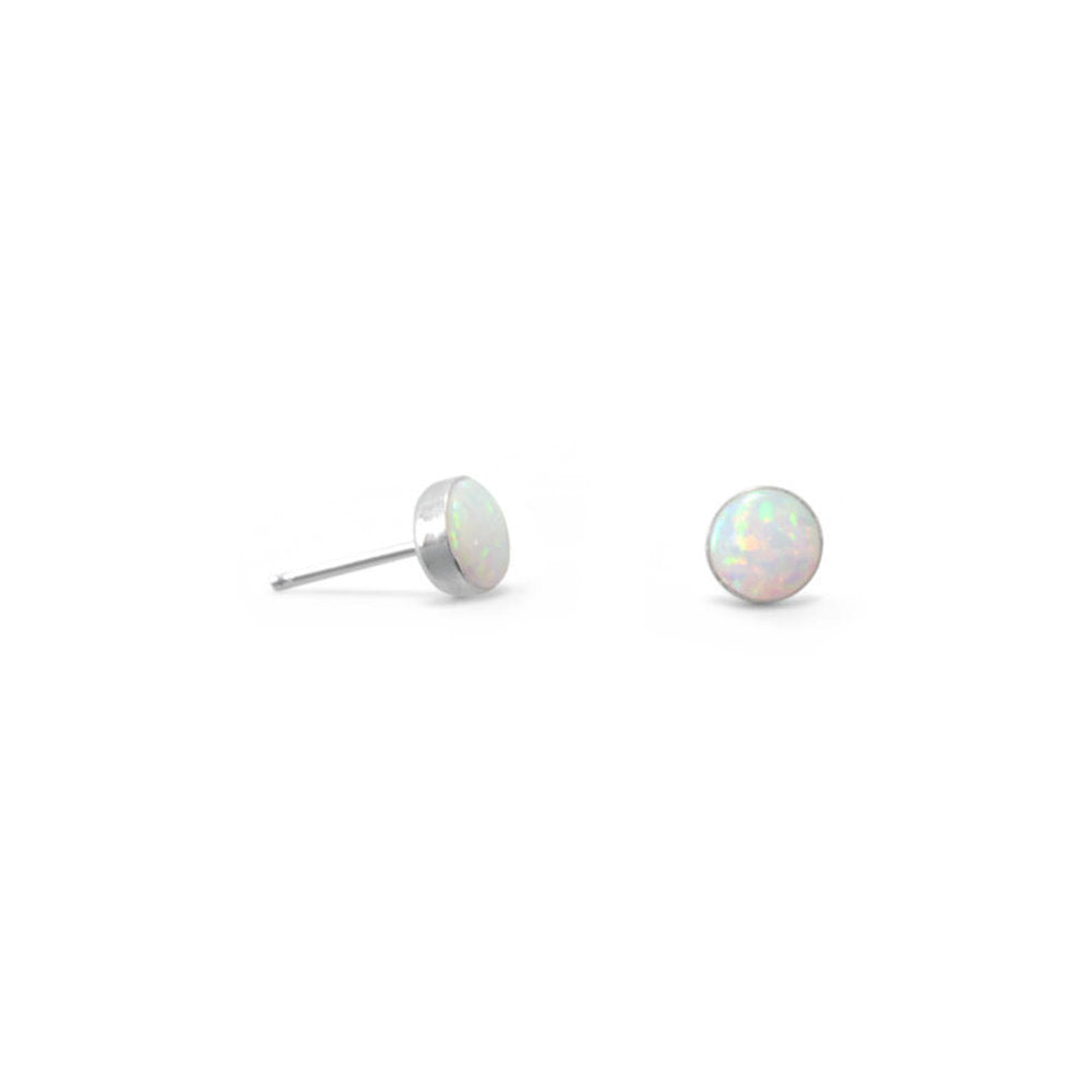 Synthetic White Opal Post Button Stud Earrings Sterling Silver