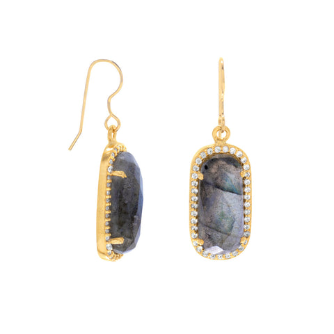 Labradorite Earrings Gold-plated Sterling Silver with Cubic Zirconia Edge Halo