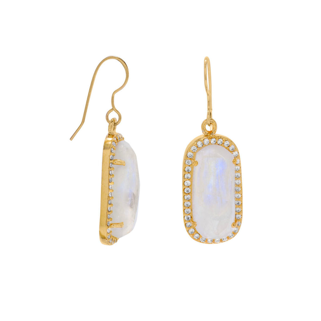 Rainbow Moonstone Earrings Gold-plated Sterling Silver with Cubic Zirconia Edge