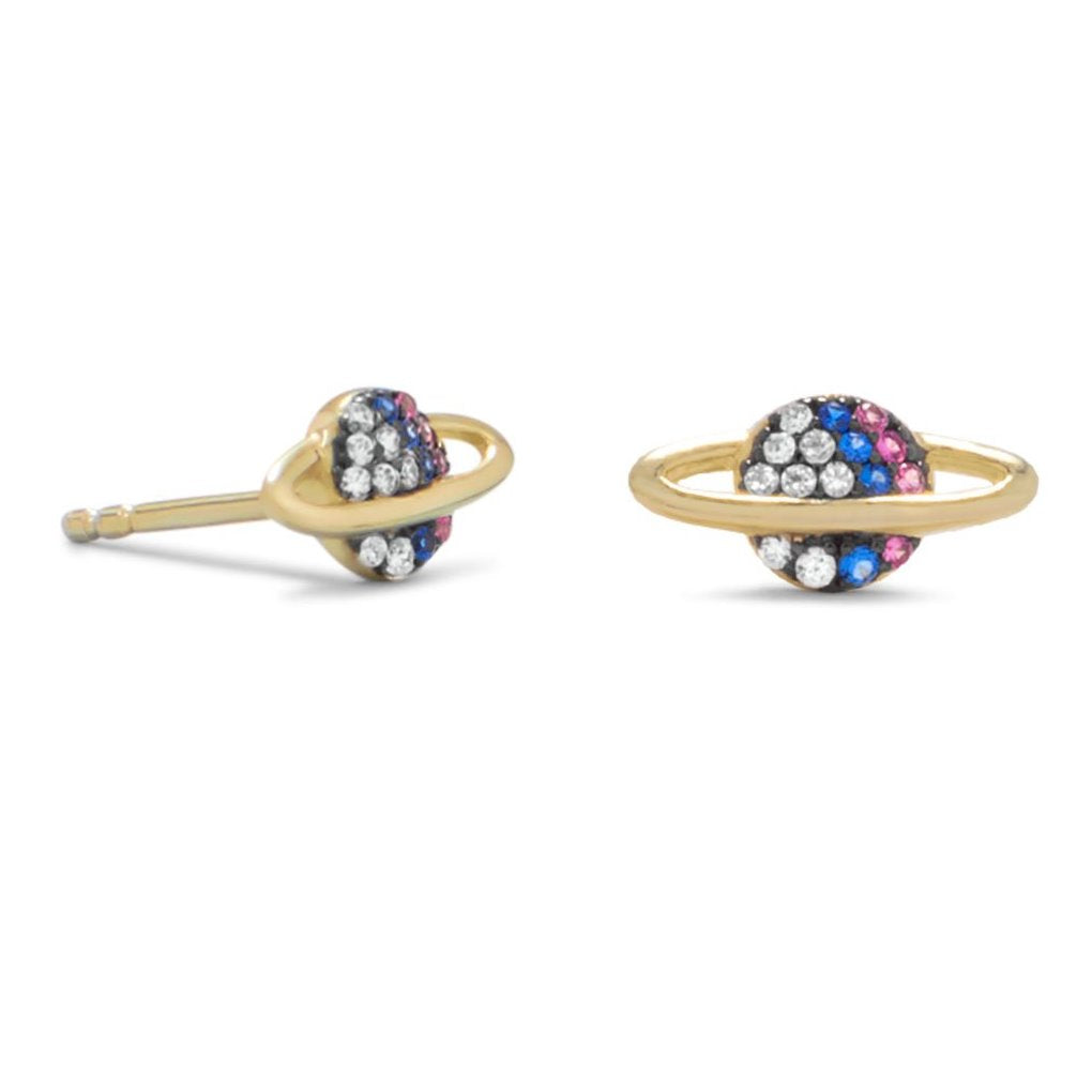 Mini Planet Saturn Earrings Gold-plated Sterling Silver with Cubic Zirconia