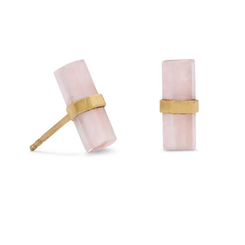 Dyed Rose Quartz Stud Earrings Pencil Cut Gold-plated Sterling Silver
