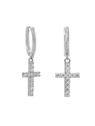 Rhodium-plated Sterling Silver Huggie Hoop Earrings with Dangle Cross