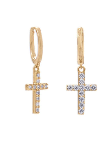 Gold-plated Sterling Silver Huggie Hoop Earrings with Dangle Cross