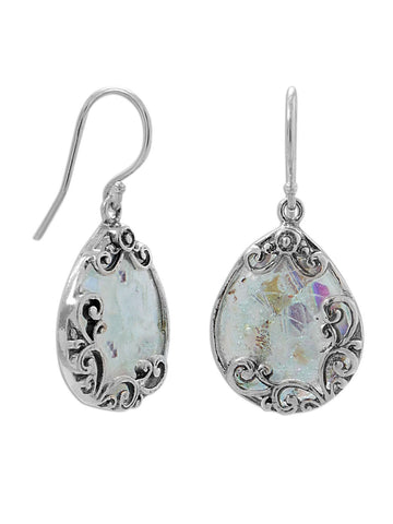 Ancient Roman Glass Earrings Filigree Design Handcrafted Sterling Silver