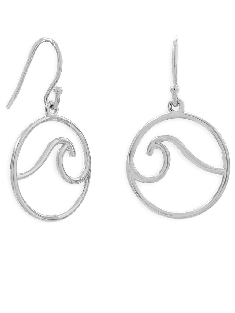 Dangle Circle with Wave Earrings Rhodium on Sterling Silver - Nontarnish
