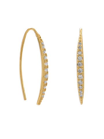 Curved Wire Earrings Gold-plated Sterling Silver with Cubic Zirconia