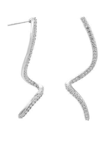 Cubic Zirconia Spiral Drop Earrings Rhodium on Sterling - Nontarnish