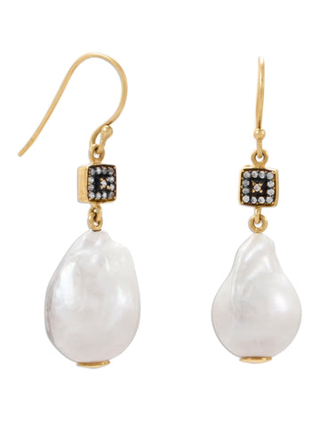 Baroque Cultured Freshwater Pearl Earrings with Cubic Zirconia