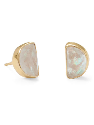 Rainbow Moonstone Earrings with Gold-plated Sterling Silver Half Moon Shape