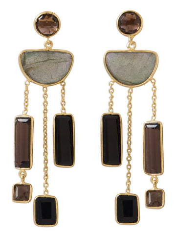 Labradorite Smoky Quartz Black Onyx Chandelier Earrings Gold-plated Sterling Silver