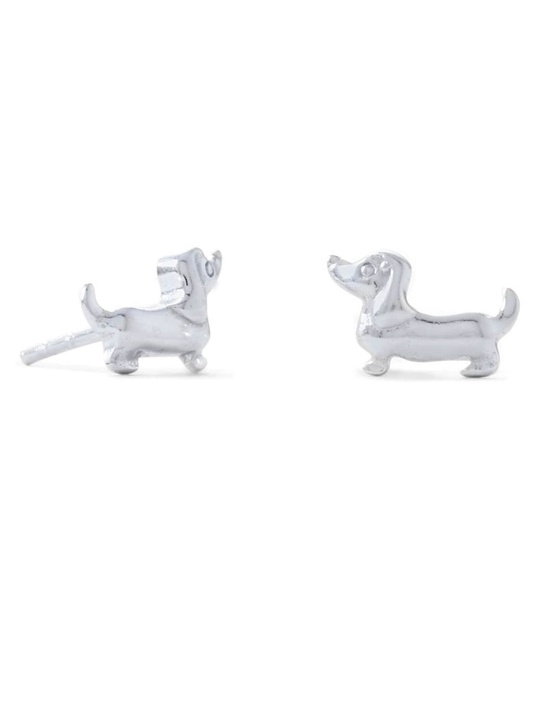 Cute Dachshund Dog Stud Earrings - Sterling Silver