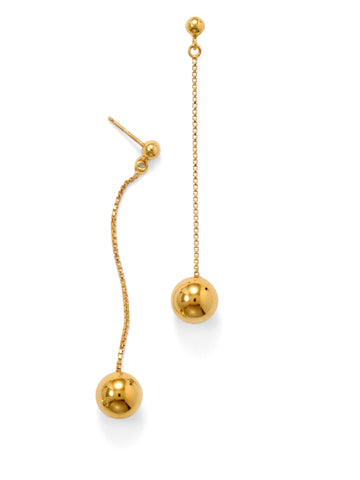 Polished Bead and Chain Drop Earrings Gold-plated Sterling Silver