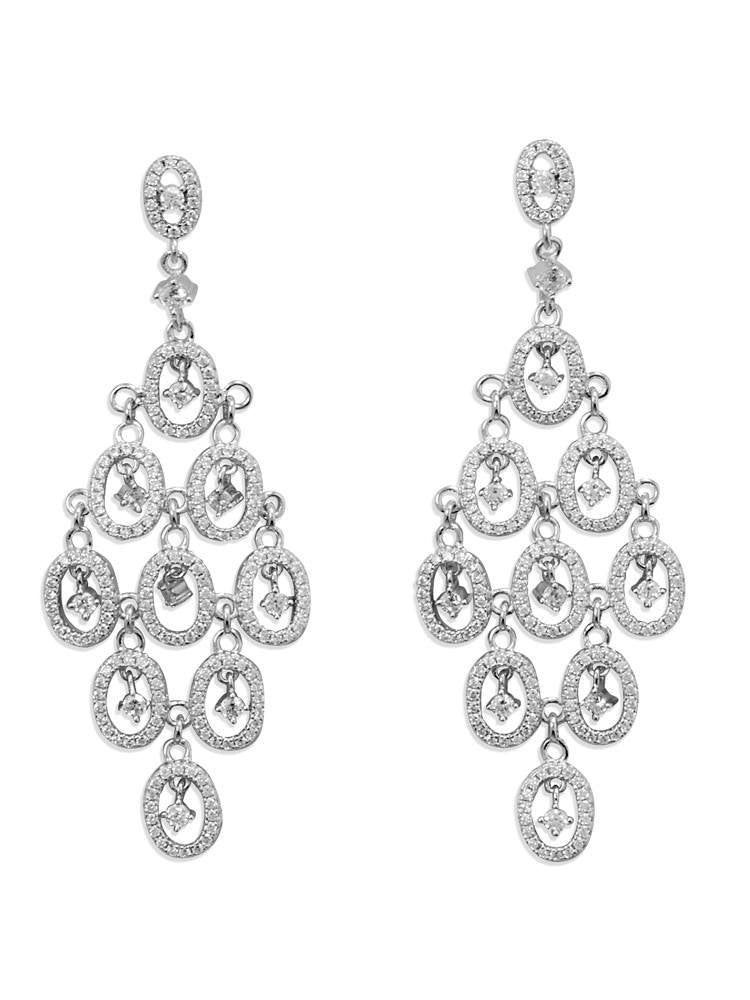 Cubic Zirconia Chandelier Earrings Rhodium on Sterling Silver