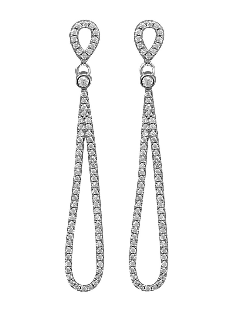 Double Cubic Zirconia Pear Dangle Drop Earrings Rhodium on Sterling Silver