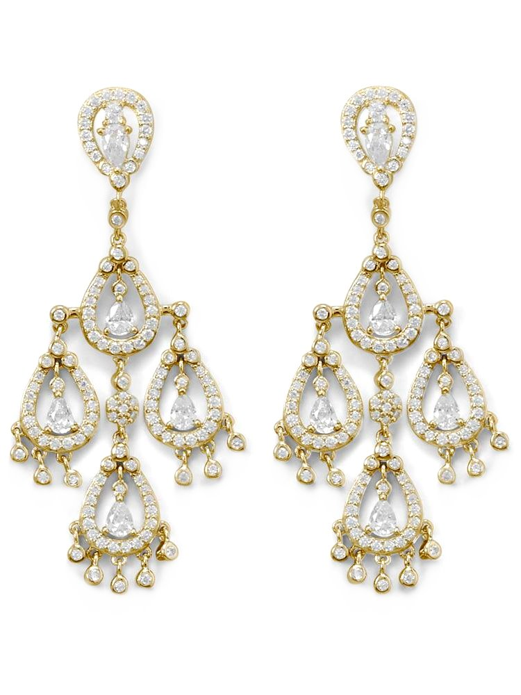 Cubic Zirconia Pear Shapes Chandelier Earrings Gold-plated Sterling Silver