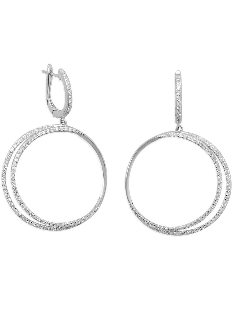 Eclipse Cubic Zirconia Double Hoop Earrings Rhodium on Sterling Silver