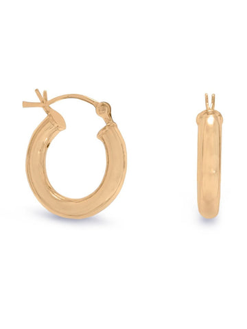 Hoop Earrings 3mm x 18mm 14k Yellow Gold-plated Sterling Silver