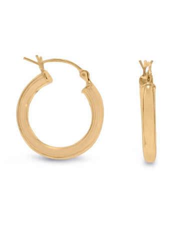Hoop Earrings 3mm x 20mm 14k Yellow Gold-plated Sterling Silver