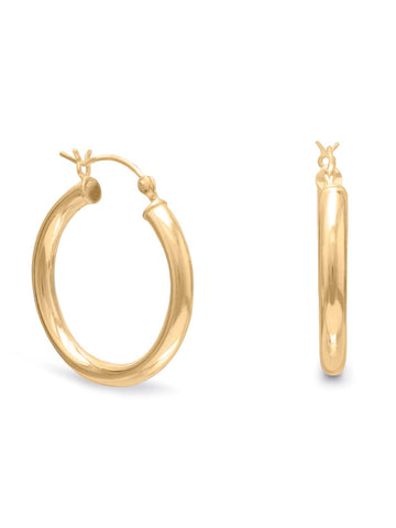 Hoop Earrings 3mm x 25mm 14k Yellow Gold-plated Sterling Silver