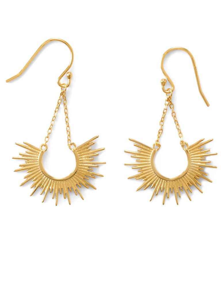 Sunrise Earrings 14k Gold-plated with Chain Half Sun Design