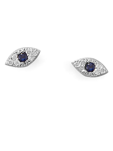 Evil Eye Nazar Boncuk Blue Cubic Zirconia Post Stud Earrings Sterling Silver