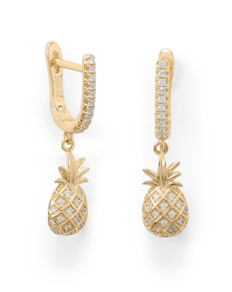 Pineapple Earrings with Cubic Zirconia 14k Gold-plated Sterling Silver