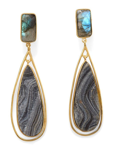 Desert Druzy Labradorite Earrings Teardrop Post Dangle 14k Gold-plated Silver