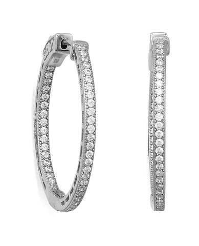 In Out Hoop Earrings Cubic Zirconia Rhodium on Sterling Silver - Nontarnish 30mm