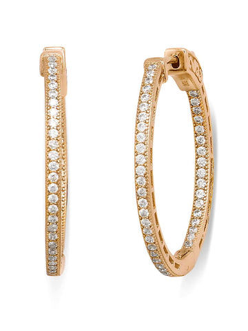 In Out Hoop Earrings Cubic Zirconia 14k Gold-plated Sterling Silver 30mm