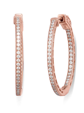 In Out Hoop Earrings Cubic Zirconia 14k Rose Gold-plated Sterling Silver 30mm