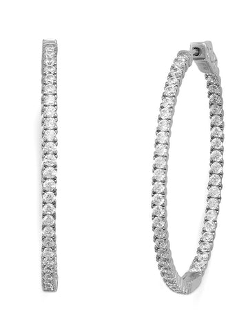 In Out Hoop Earrings Cubic Zirconia Rhodium on Sterling Silver Nontarnish 43mm