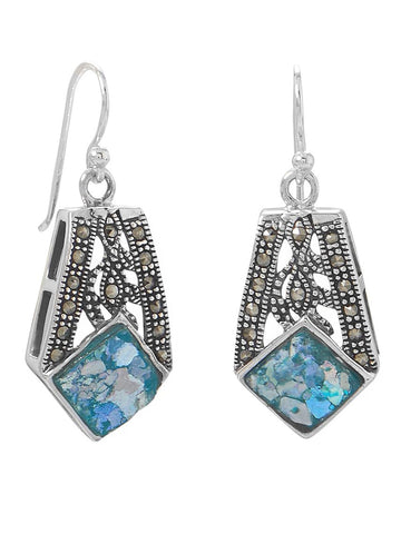 Ancient Roman Glass Earrings and Marcasite Handcrafted Sterling Silver