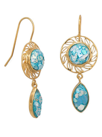 Ancient Roman Glass Earrings Handcrafted 14k Gold-plated Sterling Silver