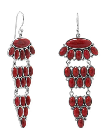 Dyed Deep Red Coral Chandelier Earrings Tiered with 38 Total Stones