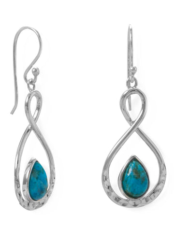 Reconstituted Turquoise Earrings Figure Eight Hammered Sterling Silver