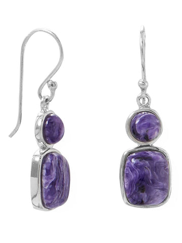 Sterling Silver Purple Charoite Earrings Double Stone Grape Swirl