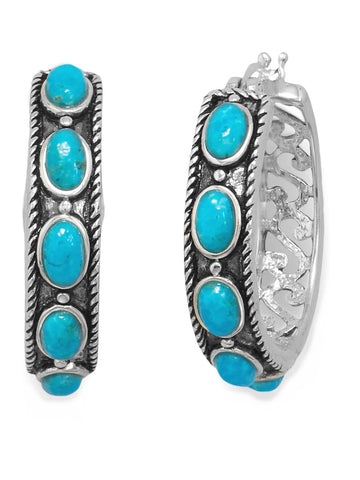 Sterling Silver Hoop Earrings with Reconstituted Turquoise Stones